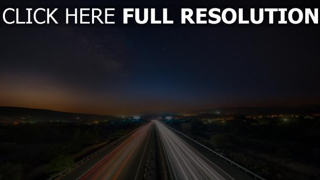 hd hintergrundbilder nacht verkehr straße sternenklarer himmel