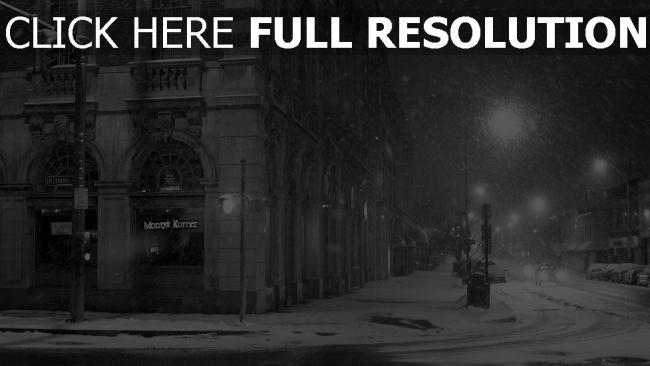hd hintergrundbilder straße schnee stadt