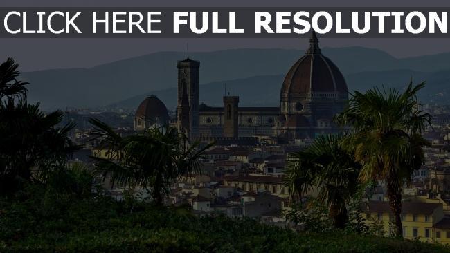 hd hintergrundbilder toskana kuppel florenz palmen italien