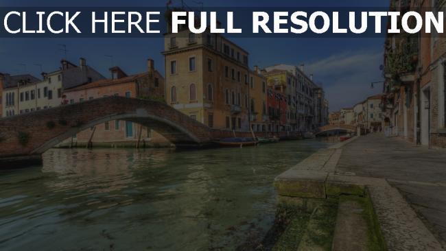 hd hintergrundbilder fluss brücke venedig häuser italien