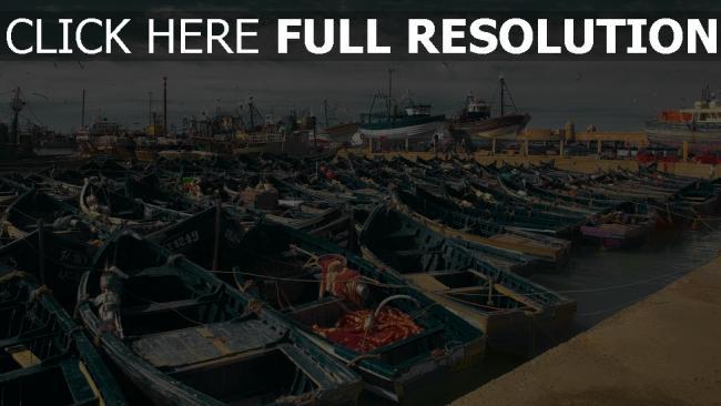 hd hintergrundbilder küste boote essaouira hafen marokko
