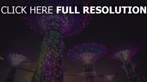 beleuchtung dekoration künstliche bäume stadt singapur