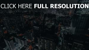 draufsicht die lichter der stadt nacht metropole wolkenkratzer