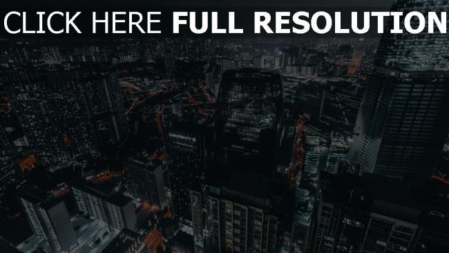 hd hintergrundbilder draufsicht die lichter der stadt nacht metropole wolkenkratzer