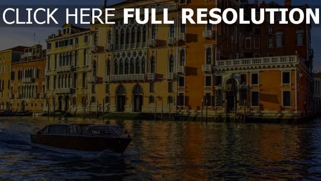 hd hintergrundbilder italien boot kanal venedig