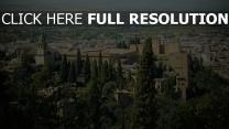 spanien stadt granada ansicht von oben alhambra