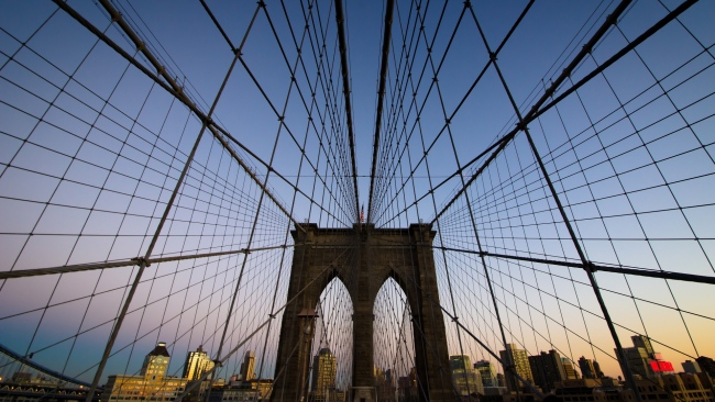 hd hintergrundbilder abend new york brooklyn bridge