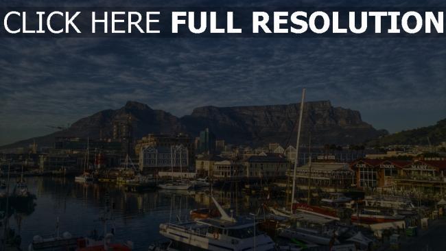 hd hintergrundbilder ufer boote afrika berge kapstadt