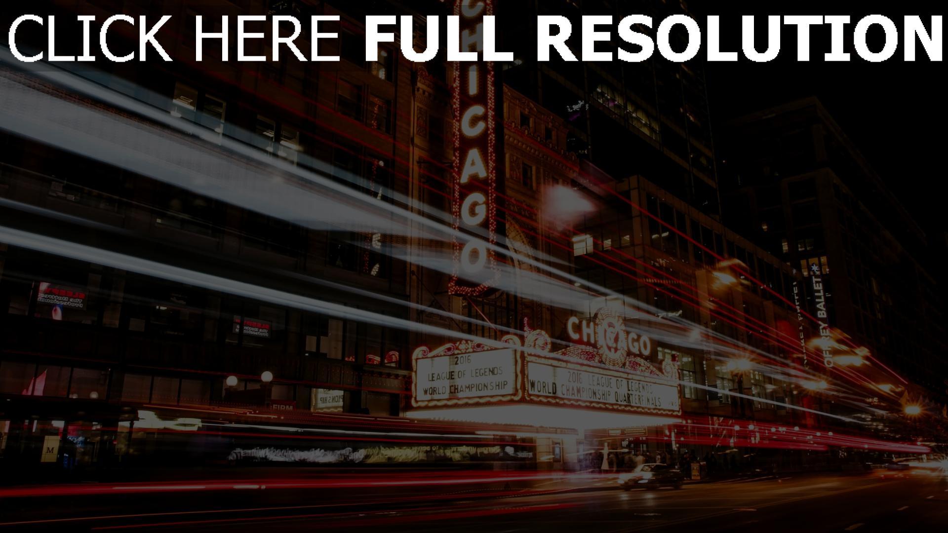 hd hintergrundbilder nacht stadt illinois verkehr chicago 1920x1080