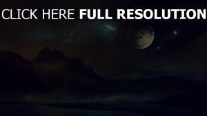 planet landschaft mond berge nacht