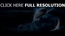 planet erde mond sterne wolken