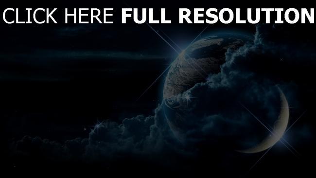 hd hintergrundbilder planet erde mond sterne wolken