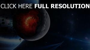 planeten explosion kern unglück sterne