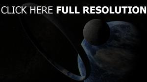 planet erde sterne mond ring