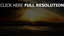 sonnenuntergang meer sonne himmel planet ringe