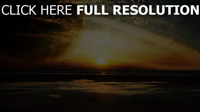 hd hintergrundbilder sonnenuntergang meer sonne himmel planet ringe