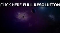 planeten sterne funkeln glühen schatten
