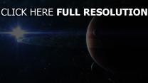planeten ringe sterne lichter strahlen