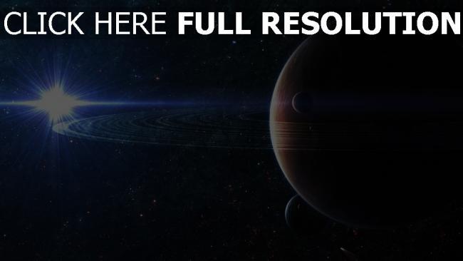 hd hintergrundbilder planeten ringe sterne lichter strahlen