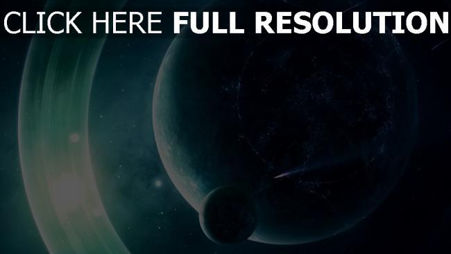 hd hintergrundbilder planet mond licht glühen umlaufbahn