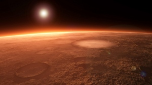 planeten oberfläche krater glühen horizont
