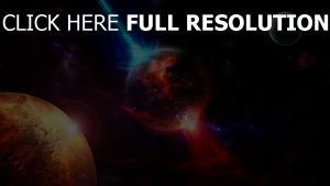 planeten explosionen lichter nebel glanz