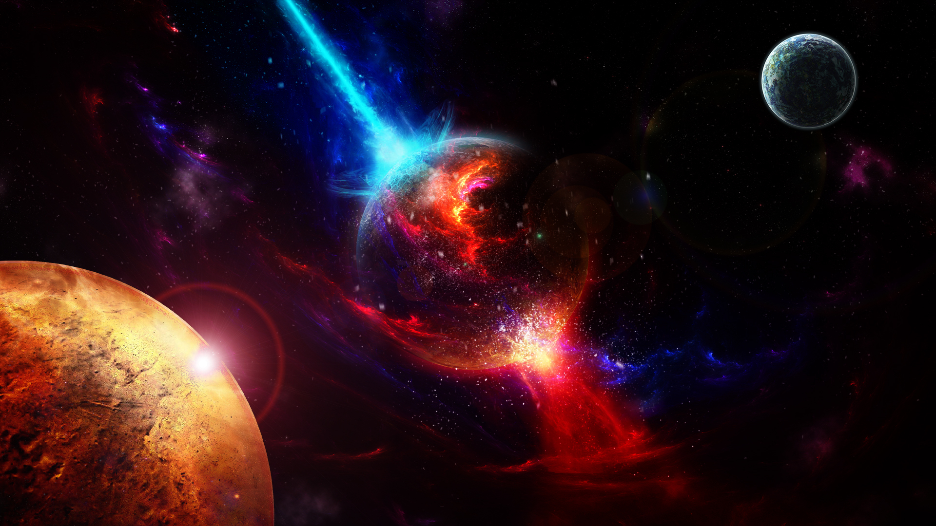 HD Hintergrundbilder Planeten Explosionen Lichter Nebel