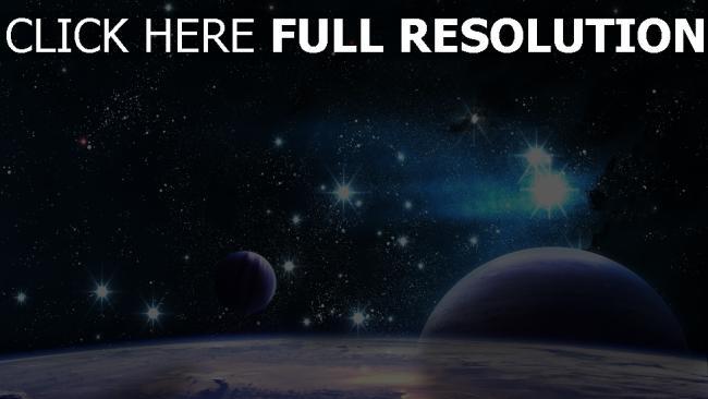 hd hintergrundbilder planeten sterne leuchten strahlen