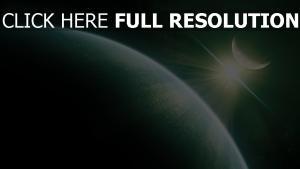 grün planet licht glanz strahlen satellit
