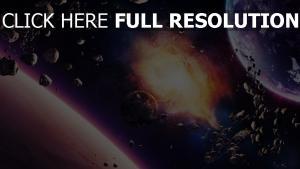explosion abbruch schutt planeten asteroiden