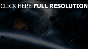 planeten sterne asteroiden schutt glühen