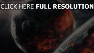 planeten lava feuer licht sterne
