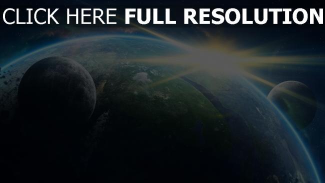 hd hintergrundbilder planet sonnenaufgang sonne monde